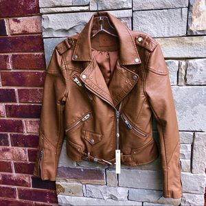 NWT Blank NYC Camel Brown Short Jacket Coat Wm Med
